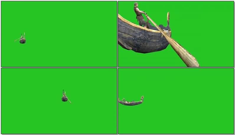 绿屏抠像划行的小船视频素材