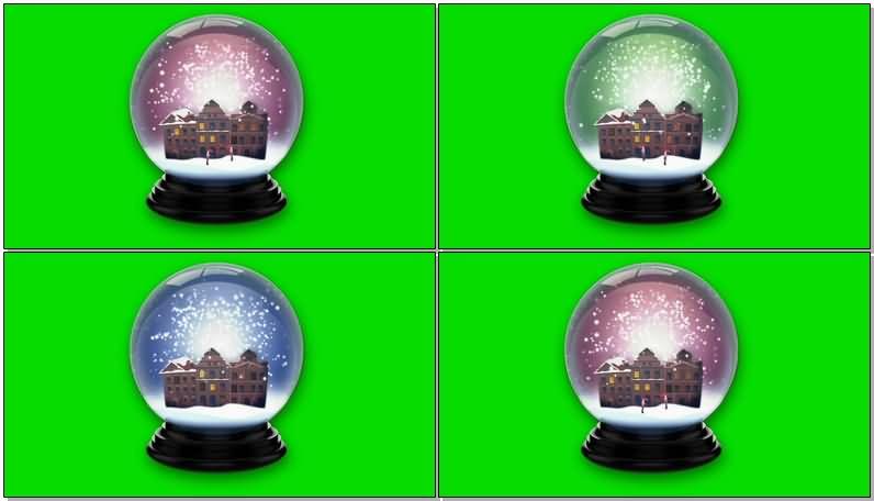 绿屏抠像雪花玻璃球视频素材