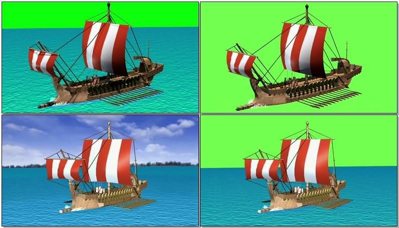 绿屏抠像古希腊木船战舰视频素材