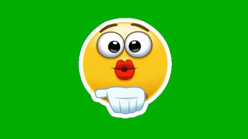 绿屏抠像卡通笑脸飞吻表情视频素材