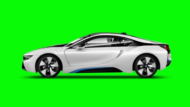 绿屏抠像白色宝马汽车视频素材