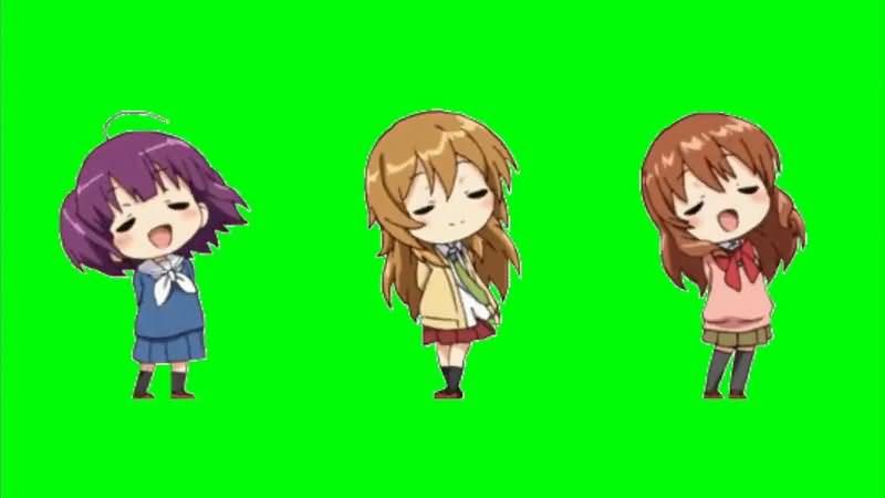 绿屏抠像唱歌的卡通女孩视频素材