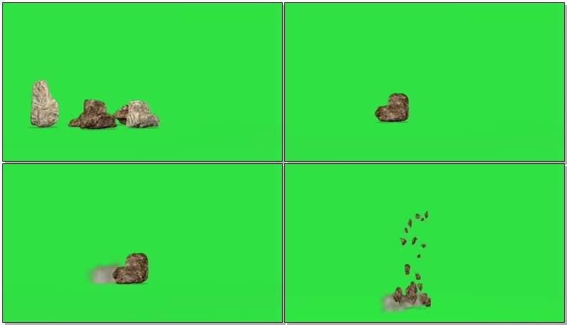 绿屏抠像奇形怪状的石头视频素材