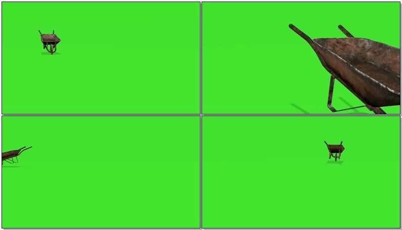 绿屏抠像工地独轮手推车视频素材
