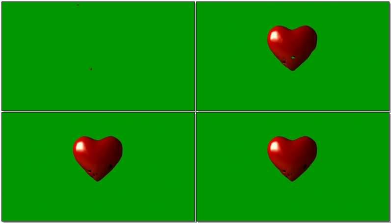 绿屏抠像红色的爱心视频素材