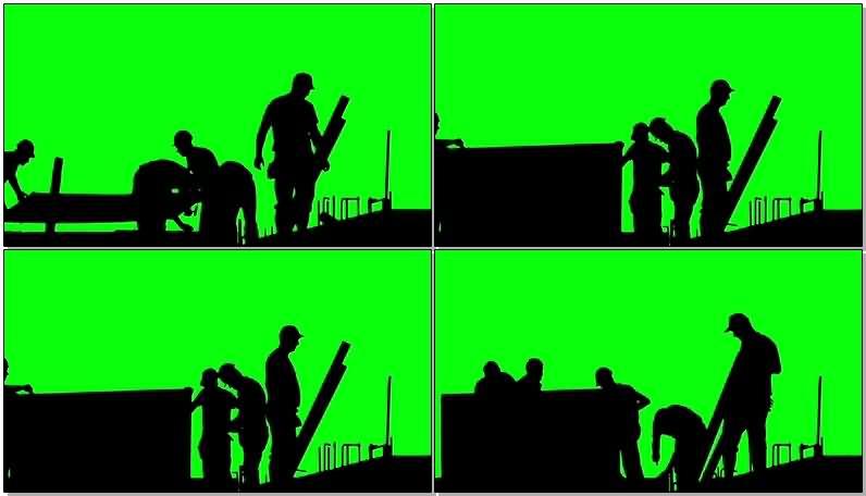 绿屏抠像工地建筑工人视频素材