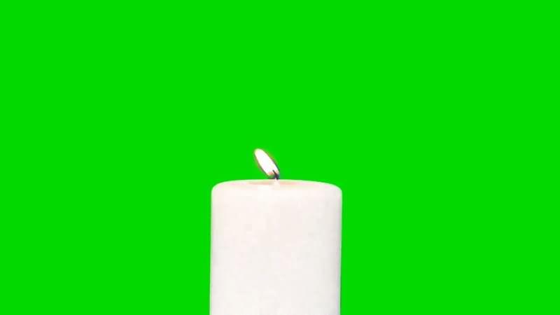 绿屏抠燃烧的白色蜡烛视频素材