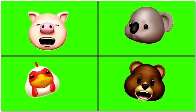 绿屏抠像卡通动物头像视频素材