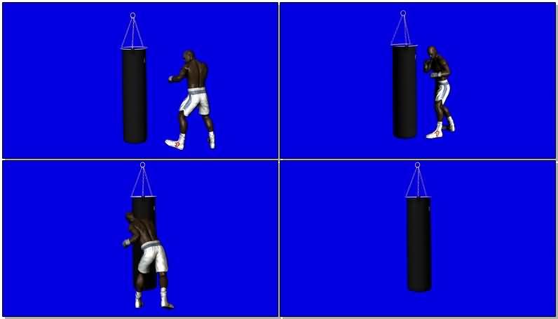 蓝屏抠像黑人拳击运动员视频素材