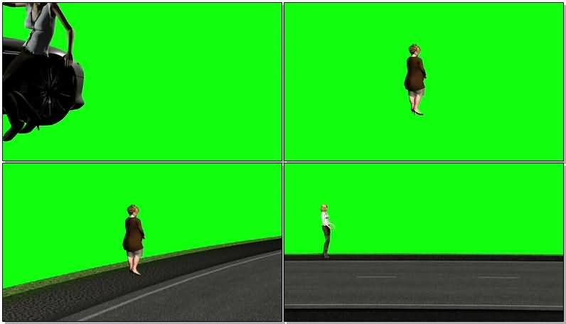 绿屏抠像汽车撞人视频素材