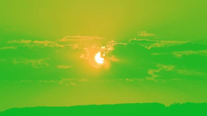 绿屏抠像晚霞落日夕阳视频素材
