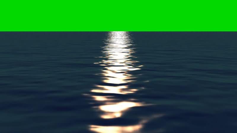 [4K]绿屏抠像海面倒映的日光