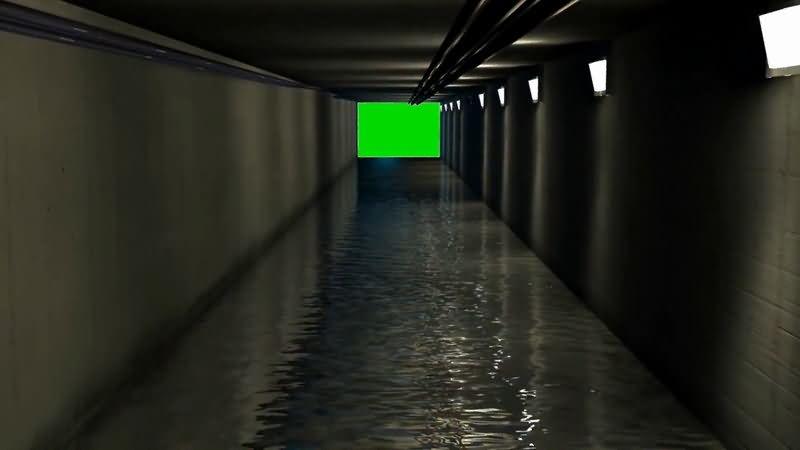 绿屏抠像黑暗的下水道视频素材