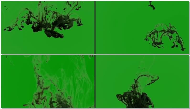 绿屏抠像黑色水墨视频素材