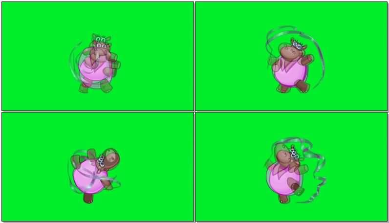 绿屏抠像跳体操的卡通河马视频素材