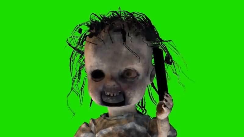 绿屏抠像可怕的鬼娃视频素材