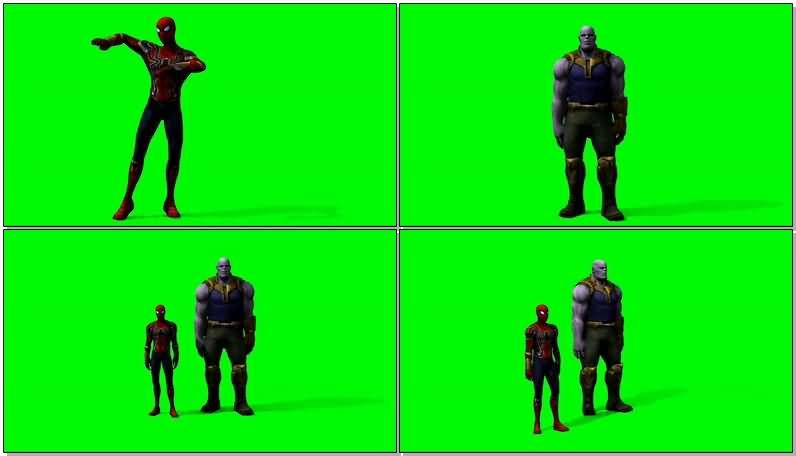 绿屏抠像跳骑马舞的蜘蛛侠和灭霸视频素材