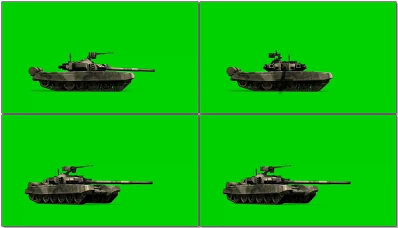 绿屏抠像开炮的坦克视频素材