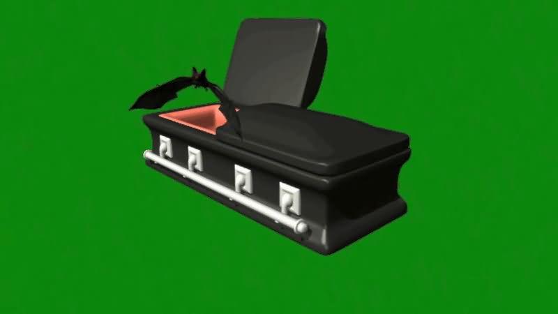 绿屏抠像棺材里飞出的蝙蝠视频素材