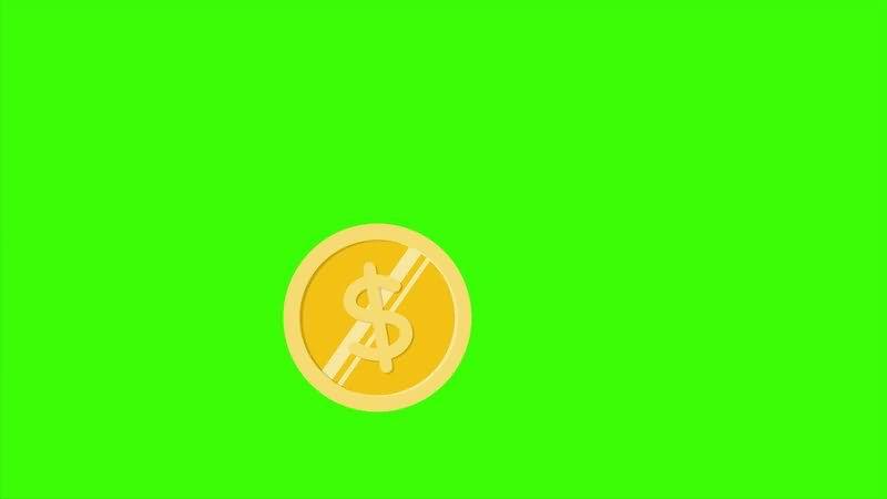 绿屏抠像金币钱币视频素材