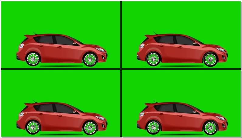 绿屏抠像红色汽车视频素材