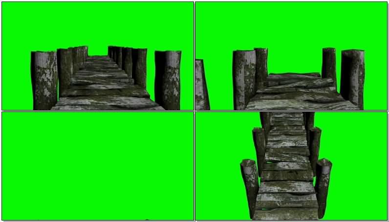 绿屏抠像简易的木桥视频素材