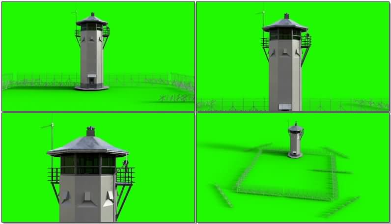 绿屏抠像监狱高塔炮楼栅栏视频素材