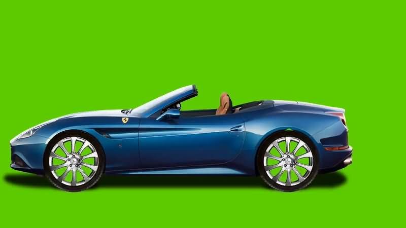 绿屏抠像行驶的蓝色轿车视频素材