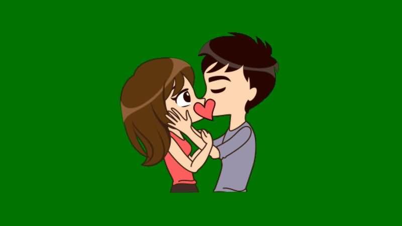 绿屏抠像接吻的男女情侣视频素材