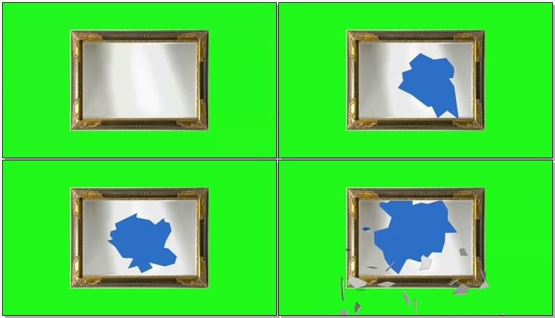 绿屏抠像破碎的镜框视频素材