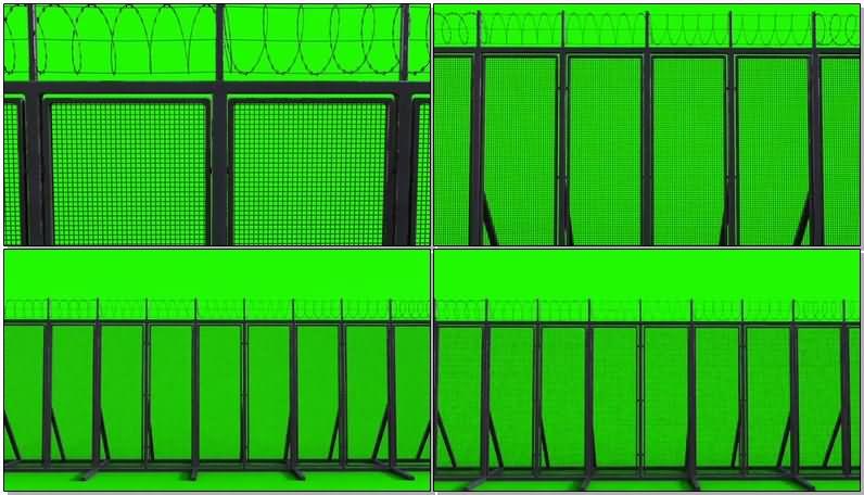 绿屏抠像铁丝网栅栏视频素材