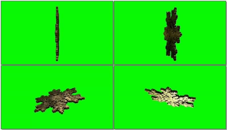 [4K]绿屏抠像旋转的黄金雪花片视频素材