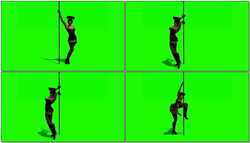 绿屏抠像跳钢管舞的性感女郎视频素材