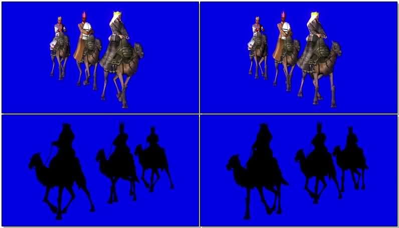 绿屏抠像骑骆驼的国王视频素材