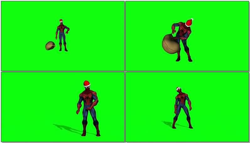 绿屏抠像扮圣诞老人的蜘蛛侠视频素材