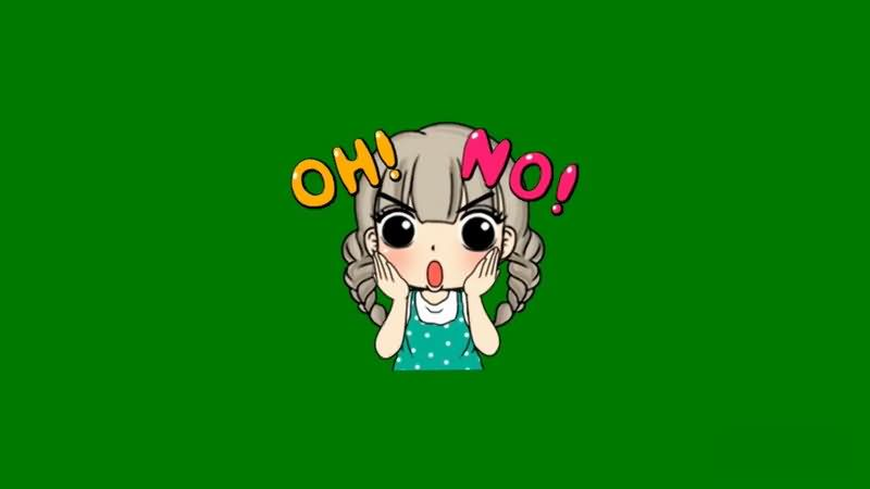 绿屏抠像惊讶的卡通女孩视频素材