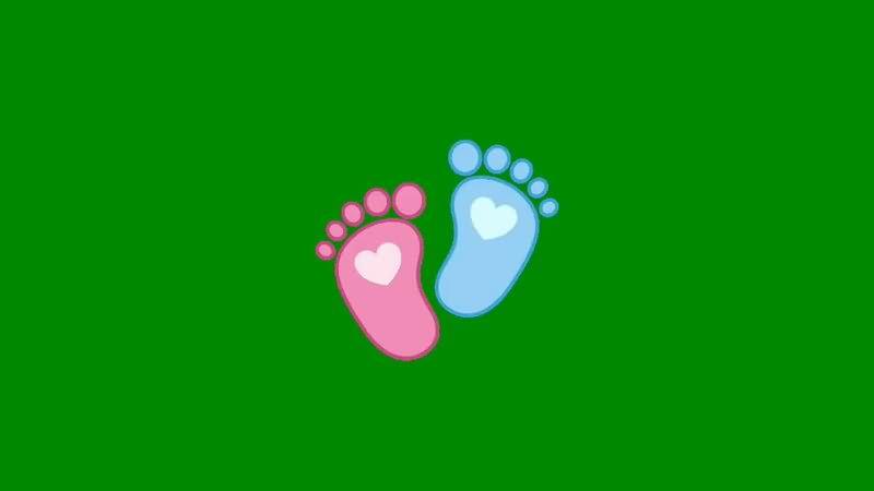 绿屏抠像可爱脚丫印记视频素材