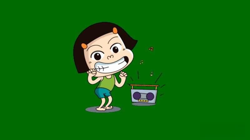 绿屏抠像跳舞的小女孩视频素材
