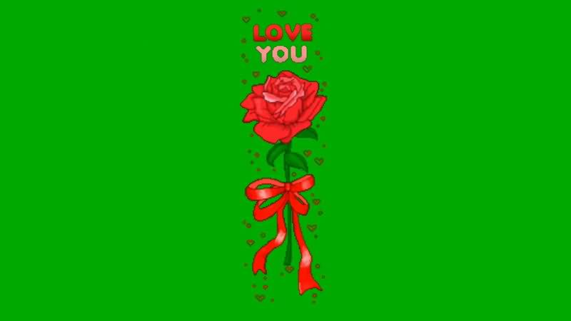绿屏抠像卡通玫瑰花视频素材