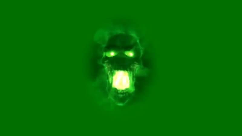 绿屏抠像绿色骷髅头视频素材