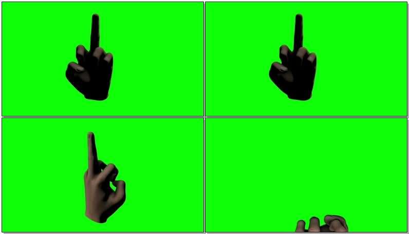 绿屏抠像竖中指手势视频素材