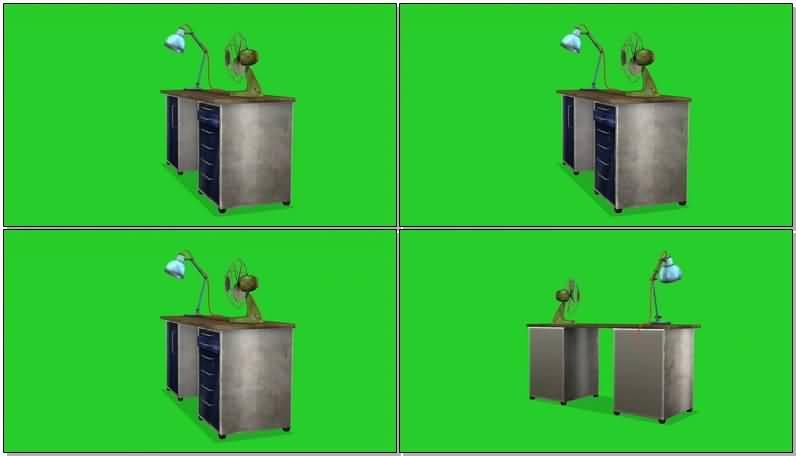 绿屏抠像老式木质书桌视频素材