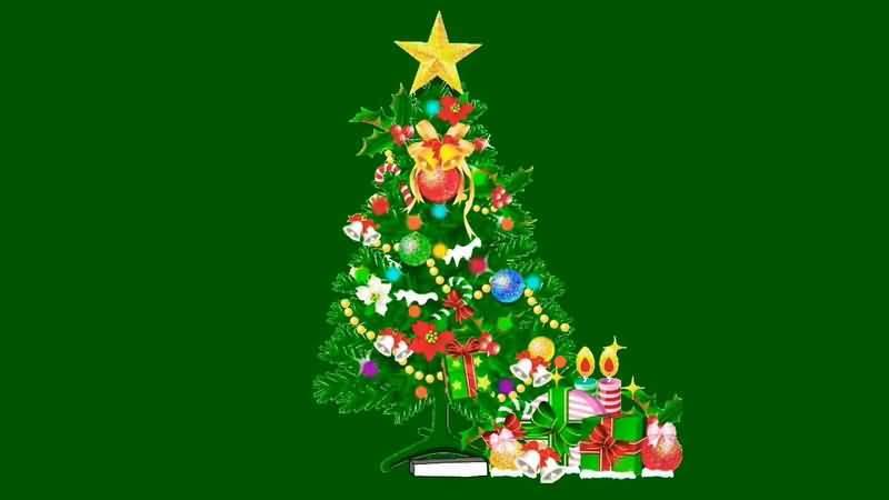 绿屏抠像圣诞树礼品盒视频素材