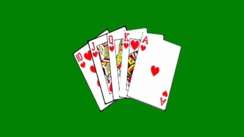 绿屏抠像同花顺扑克牌视频素材