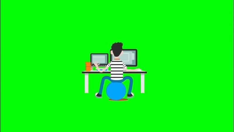 绿屏抠像玩电脑的程序员视频素材