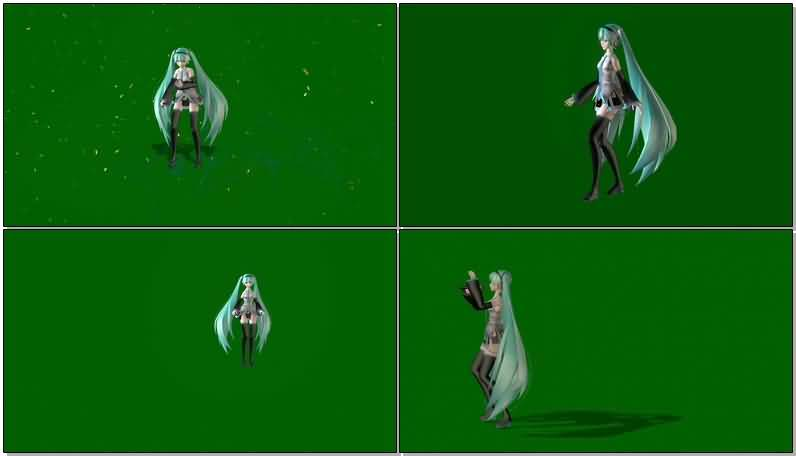 绿屏抠像唱歌跳舞的卡通女孩视频素材