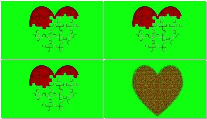 绿屏抠像拼图爱心视频素材
