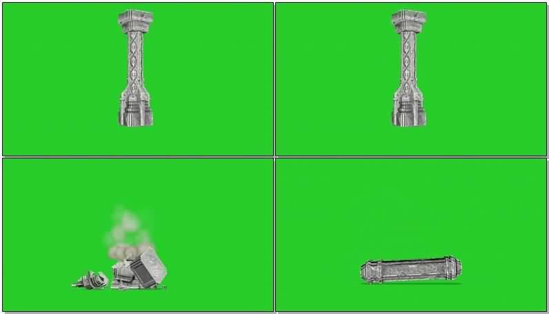 绿屏抠像倒塌的石碑建筑视频素材