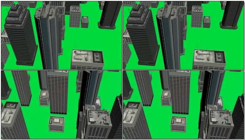 绿屏抠像俯瞰高楼大厦视频素材