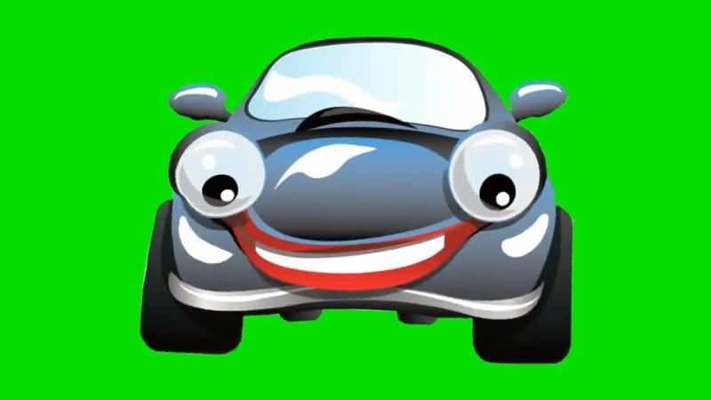 绿屏抠像卡通大眼睛轿车视频素材
